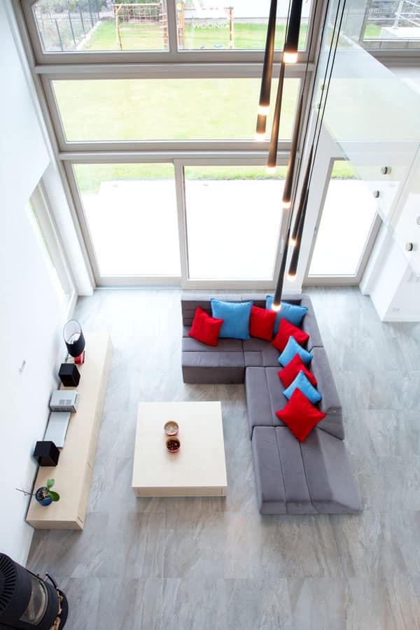 Wohnzimmer In Orange Braun Und Teakholz Ideen Grau 2