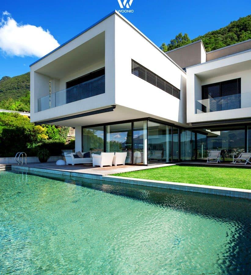 Fertighaus villa mit pool  Auch vom Pool aus ein Augenschmauß diese kubische Villa - Wohnidee ...