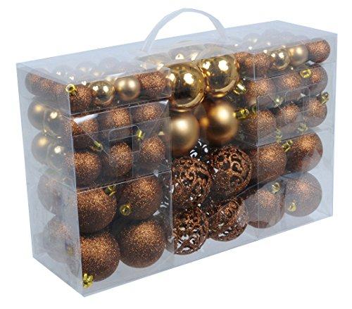 100 Weihnachtskugeln Bronze Braun Gl Nzend Glitzernd Matt