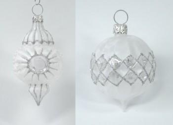 2-Stck-Baumkugel-Waffelkugel-und-Ornament-spitz-in-polar-weiss-und-klares-Glas-Rieser-Baumschmuck-0