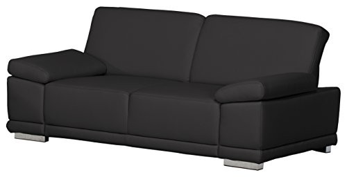 3-Sitzer-Corianne217x80x99cmLeder-Punch-schwarz-Poroflex-softy-schwarz-0