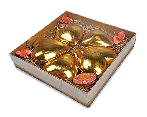 5 x deko anh nger herz herzen im set aus holz gold. Black Bedroom Furniture Sets. Home Design Ideas