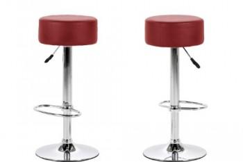AC-Design-Furniture-51465-Barhocker-2-er-Set-Jens-Bezug-Kunstleder-rot-Gestell-und-Fusttze-Metall-verchromt-0