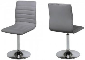 AC-Design-Furniture-51637-Esszimmerstuhl-2-er-Set-Sander-Bezug-Kunstleder-grau-Gestell-Metall-verchromt-360-Grad-drehbar-0