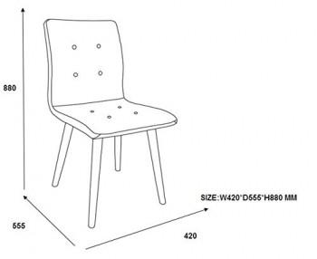 AC-Design-Furniture-H000014092-Esszimmerstuhl-2-er-Set-Charlotte-SitzRcken-Seiten-dunkelgrau-Knpfen-und-Stoff-rot-0-0