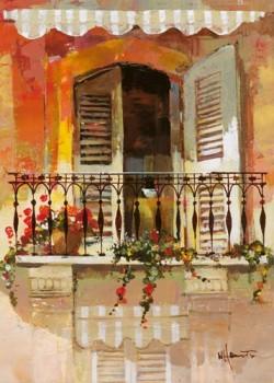Acrylglasbild-Balcony-I-von-Willem-Haenraets-120-x-168cm-Motiv-bis-an-die-Kanten-Kunstdruck-Poster-Malerei-Architektur-Haus-Hauswand-Balkon-Balkonblumen-Fenster-Markise-medit-hochwertige-Fertigung-Art-0