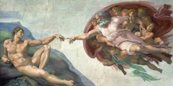 Acrylglasbild-Die-Erschaffung-des-Adams-von-Michelangelo-220-x-110cm-Motiv-bis-an-die-Kanten-Kunstdruck-Poster-Wunschgroesse-hochwertige-Fertigung-Art-Galerie-Shop-0