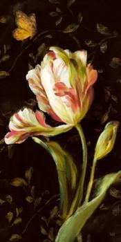 Acrylglasbild-Jardin-Paris-Florals-II-von-Danhui-Nai-110-x-220cm-Motiv-bis-an-die-Kanten-Kunstdruck-Poster-Malerei-Tulpe-weisse-Bluete-Blume-Schmetterling-florales-Muster-Tapetenmuster-hochwertige-Fer-0