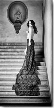 Acrylglasbild-The-Royal-Palace-von-Marco-Milillo-110-x-220cm-Motiv-bis-an-die-Kanten-Kunstdruck-Poster-Fotografie-Rueckenakt-Erotik-Romantisch-Rock-Schleppe-Treppenhaus-Schlafzim-hochwertige-Fertigung-0