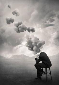 Acrylglasbild-Think-von-Tommy-Ingberg-120-x-1716cm-Motiv-bis-an-die-Kanten-Kunstdruck-Poster-Grafik-Mann-Mann-im-Anzug-landschaft-sitzender-mann-Stuhl-Luftballons-surrea-hochwertige-Fertigung-Art-Gale-0