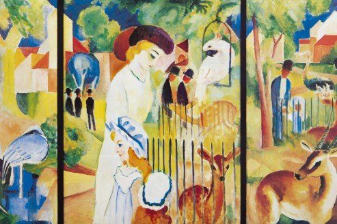 August-Macke-Groer-Zoologischer-Garten-1912-Poster-Leinwandbild-Auf-Keilrahmen-120-x-80cm-0