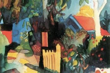 August-Macke-Landschaft-Mit-Hellen-Bumen-1914-Poster-Leinwandbild-Auf-Keilrahmen-120-x-80cm-0