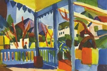August-Macke-Terrasse-Des-Landhauses-In-St-Germain-1914-Poster-Leinwandbild-Auf-Keilrahmen-120-x-80cm-0