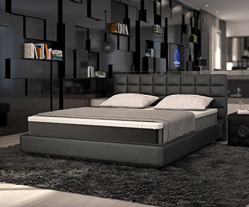 bett junis schwarz 180x200 cm mit topper und matratze boxspringbett online kaufen bei woonio. Black Bedroom Furniture Sets. Home Design Ideas