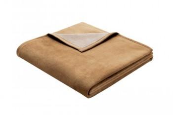 Biederlack-628633-Wohn-und-Kuscheldecke-60--Baumwolle-Samtband-Einfassung-150-x-200-cm-Camel-Exquisite-Baumwolle-0
