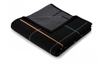 Biederlack-646132-Wohn-und-Kuscheldecke-60--Baumwolle-Samtband-Einfassung-150-x-200-cm-schwarz-Exquisite-Baumwolle-Black-Fashion-0