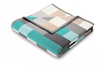 Biederlack-646170-Wohn-und-Kuscheldecke-60--Baumwolle-Samtband-Einfassung-150-x-200-cm-grau-trkis-Exquisite-Baumwolle-Logical-0