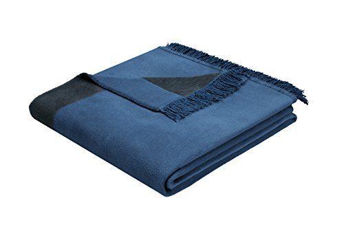 Biederlack-646484-Wohn-und-Kuscheldecke-60--Baumwolle-mit-Fransen-150-x-200-cm-blau-Orion-Baumwolle-Plus-Jeans-0