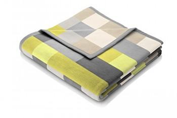 Biederlack-646637-Wohn-und-Kuscheldecke-86--Polyacryl-Dralon-Veloursband-Einfassung-150-x-200-cm-grau-gelb-Thermosoft-Top-Lime-Check-0