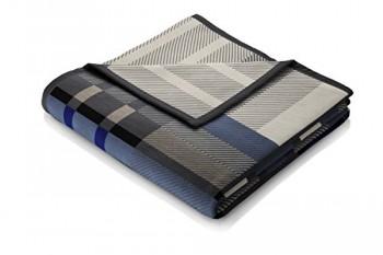 Biederlack-646668-Wohn-und-Kuscheldecke-86--Polyacryl-Dralon-Veloursband-Einfassung-150-x-200-cm-blau-Thermosoft-Top-Scotland-Blue-0