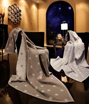 Biederlack-653109-Wohn-und-Kuscheldecke-60--Baumwolle-Veloursband-Einfassung-150-x-200-cm-silber-Orion-Baumwolle-Texas-Stars-0