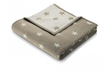 Biederlack-653116-Wohn-und-Kuscheldecke-60--Baumwolle-Veloursband-Einfassung-150-x-200-cm-braun-Orion-Baumwolle-Texas-Stars-0