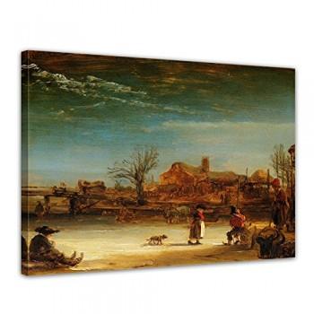 Bilderdepot24-Leinwandbild-Rembrandt-Alte-Meister-Winterlandschaft-120x90cm-fertig-gerahmt-direkt-vom-Hersteller-0