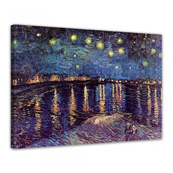 Bilderdepot24-Leinwandbild-Vincent-van-Gogh-Alte-Meister-Sternennacht-ber-der-Rhne-120x90cm-fertig-gerahmt-direkt-vom-Hersteller-0