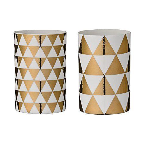 Bloomingville-Teelichtbecher-Triangles-weigold-65x10cm-2er-Set-0