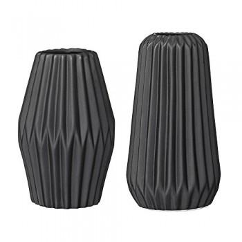 Bloomingville-Vasen-Porzellan-Fluted-schwarz-2er-Set-0