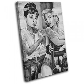 Bold-Bloc-Design-Monroe-Hepburn-Tattoo-Vintage-120x80cm-Leinwand-Kunstdruck-Box-gerahmte-Bild-Wand-hangen-handgefertigt-In-Grossbritannien-gerahmt-und-bereit-zum-Aufhangen-Canvas-Art-Print-0