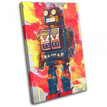 Bold-Bloc-Design-Robot-Abstract-Vintage-For-Kids-Room-120x80cm-Leinwand-Kunstdruck-Box-gerahmte-Bild-Wand-hangen-handgefertigt-In-Grossbritannien-gerahmt-und-bereit-zum-Aufhangen-Canvas-Art-Print-0