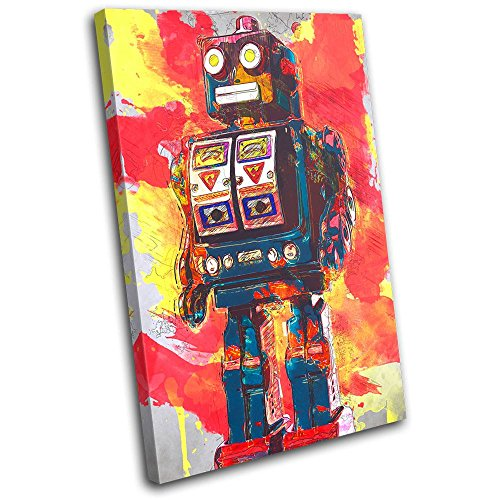 Bold Bloc Design Robot Abstract Vintage For Kids Room