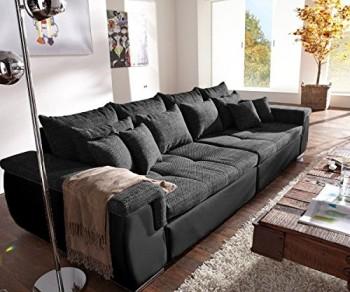 Couch-Navin-Schwarz-275x116-cm-Sofa-mit-12-Kissen-0