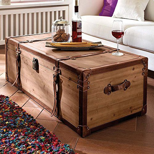 couchtisch truhe holz braun viel stauraum ca b110 x t50 x h35 cm online kaufen bei woonio. Black Bedroom Furniture Sets. Home Design Ideas