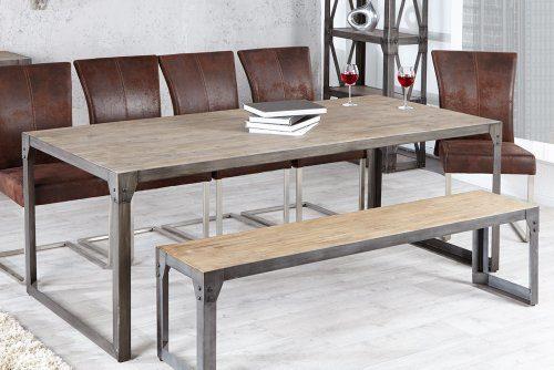 Design-Esstisch-INDUSTRIAL-200cm-Akazie-teakgrau-geklkt-Metallkorpus-0