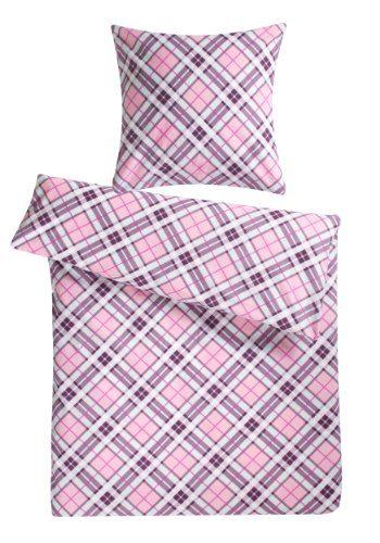 Geniee-den-Schlaf-4260216519277-Bettwsche-Set-200-x-200-cm-3-teilig-Biber-aus-100-Baumwolle-rosa-kariert-0
