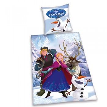 Herding-4679008050-Bettwsche-Disneys-Eisknigin-Kopfkissenbezug-80-x-80-cm-und-Bettbezug-135-x-200-cm-flanell-biber-0