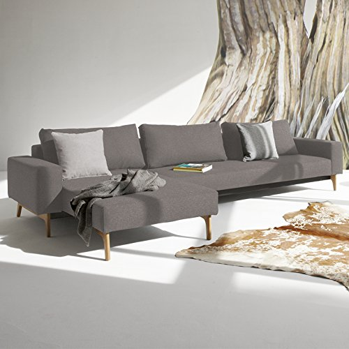 innovation schlafsofa mit armlehnen und holzbeinen idun lounger textil grau online kaufen bei woonio. Black Bedroom Furniture Sets. Home Design Ideas