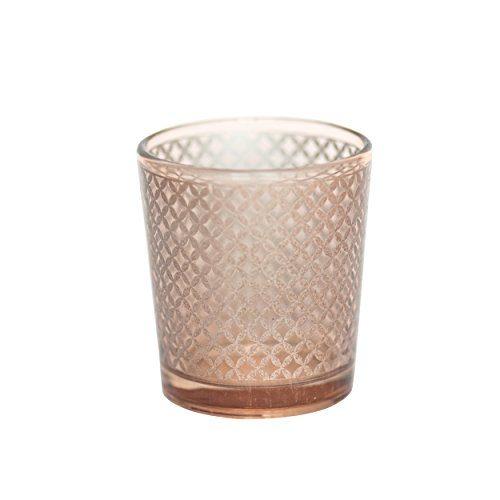 Insideretail-700561SET12-Glas-Teelichthalter-Satz-von-12-4-Zoll-golddiamant-0
