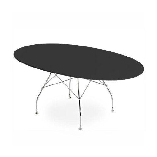 Kartell-Glossy-Tisch-Oval-Gestell-silber-schwarz-194x120x72cm-Polyester-0