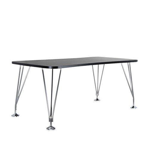 Kartell-Max-Tisch-160x80cm-schiefergrau-Gestell-verchromter-Stahl-mit-festen-Standfen-0
