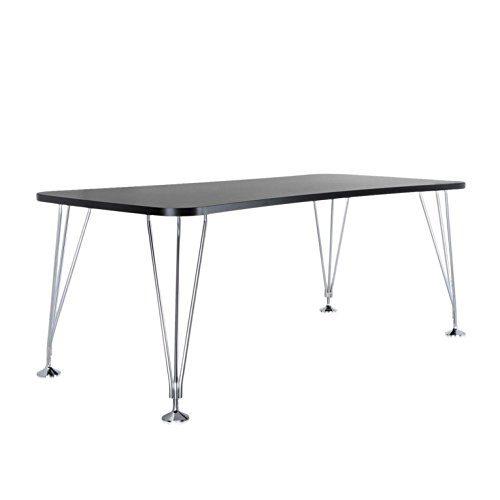 Kartell-Max-Tisch-190x90cm-schiefergrau-Gestell-verchromter-Stahl-mit-festen-Standfen-0