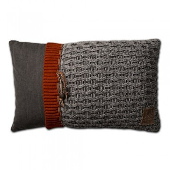 Knit-Factory-021301-Dekokissen-Strickkissen-Joep-60-x-40-cm-grau-mit-Fllung-0