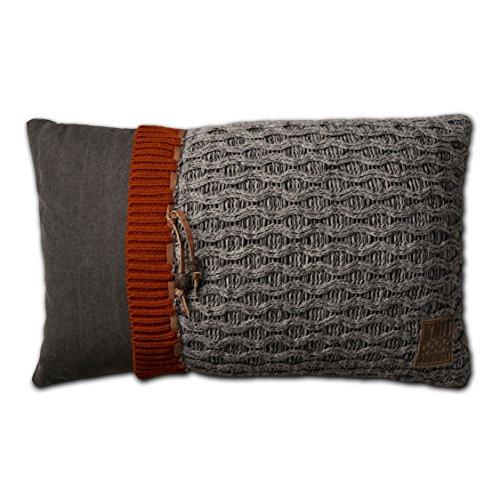 knit factory 021301 dekokissen strickkissen joep 60 x 40 cm grau mit f llung online kaufen bei. Black Bedroom Furniture Sets. Home Design Ideas