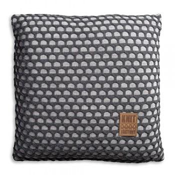 Knit-Factory-1081251-Dekokissen-Strickkissen-Mila-mit-Fllung-50-x-50-cm-grau-antra-0