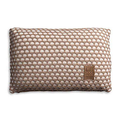 knit factory 1081352 dekokissen strickkissen mila mit f llung 60 x 40 cm beige marron online. Black Bedroom Furniture Sets. Home Design Ideas