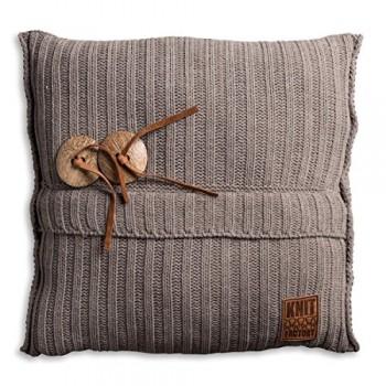 Knit-Factory-1101229-Dekokissen-Strickkissen-Aran-mit-Fllung-50-x-50-cm-taupe-0