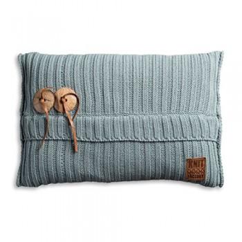 Knit-Factory-1101309-Dekokissen-Strickkissen-Aran-mit-Fllung-60-x-40-cm-stone-grn-0
