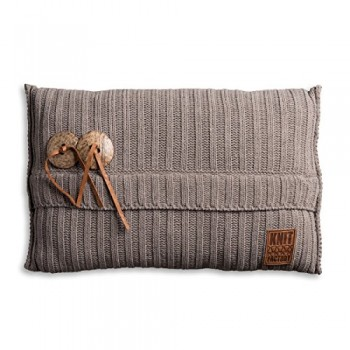 Knit-Factory-1101329-Dekokissen-Strickkissen-Aran-mit-Fllung-60-x-40-cm-taupe-0